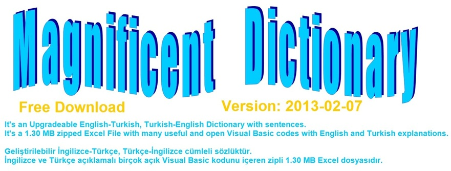 Magnificent Dictionary, free download English Turkish dictionary, Learn Visual Basic, VBA